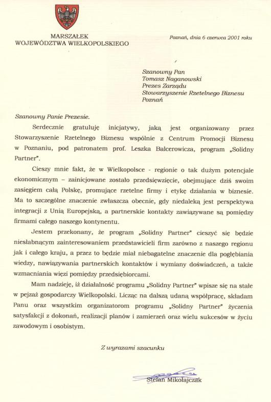 Stefan Mikołajczak - Marszałek Województwa Wielkopolskiego | Solidny Partner